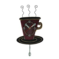 Allen Designs Cozy Cafe Whimsical Coffee Cup Pendulum Wall Clock