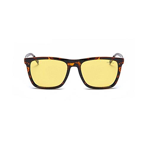 Gafas Mujer Gafas Polarizadas Aire Con Clásico De Rectangulares Sol Hombre Nocturna Caja Los Casual De Conducir Visión Marrón Vidrios UV400 Al Libre C7wdfAq