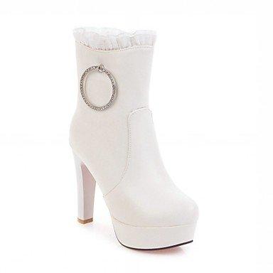 RTRY Zapatos De Mujer Invierno Primavera Polipiel Cowboy Western / Botas Botas Botas De Moda Chunky Talón Puntera Redonda Botines/Botines Rhinestone US8.5 / EU39 / UK6.5 / CN40