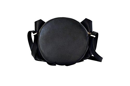 Borsa a tracolla rotonda nera con maxi fiocco in vera pelle, BORGENNI