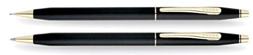Cross Classic Century Classic Black Ballpoint Pen & 0.7mm Pencil with 23KT Gold-Plated Appointments (Slim Pen And Pencil Set)