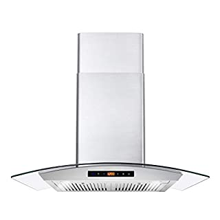 Cosmo COS-668AS750 Wall Mount Range Hood 380 CFM, Ductless Convertible Duct, Glass Chimney Over Stove Vent with Light, 3 Speed Exhaust, Fan Timer & Permanent Filter, 30, Stainless Steel