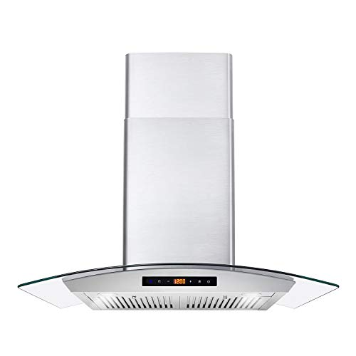 Cosmo COS-668AS750 Wall Mount Range Hood 380 CFM, Ductless Convertible Duct, Glass Chimney Over Stove Vent with Light, 3 Speed Exhaust, Fan Timer  Permanent Filter, 30, Stainless Steel