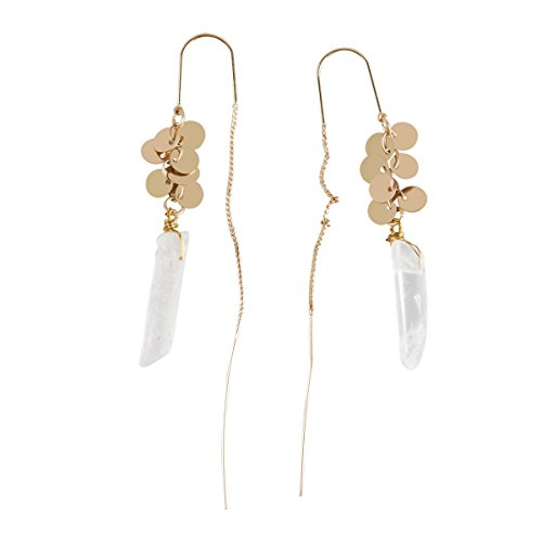 Artisian Crystal (Women's Wire Wrap Transparent Crystal Gold Plated Sequins Bohemian Threader Long Drop Earring)
