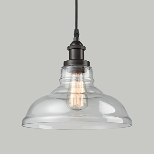 CLAXY Ecopower Industrial Edison Vintage Style 1-Light Oil-rubbed Bronze Pendant Glass Hanging - Rubbed Oil Bronze Lamps Pendant