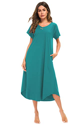 YOZLY Loungewear Womens Nightgown Cotton Knit Short Sleeve Sleepwear Long Nightshirt with Pockets S-XXL (Lake Blue, Medium) ()