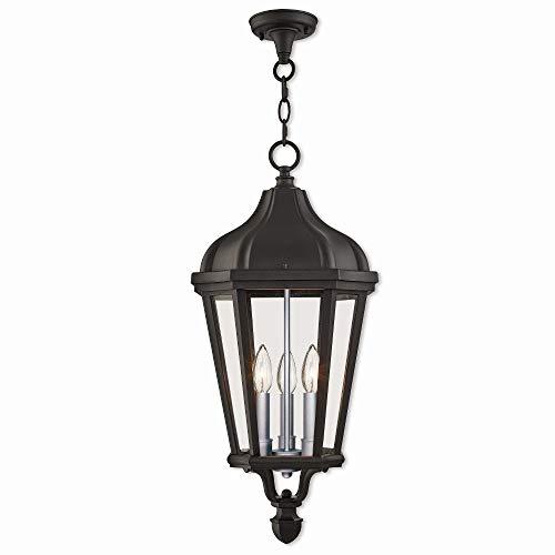 Livex Lighting 76193-14 Morgan - Three Light Outdoor Hanging Lantern, Textured Black Finish with Clear Glass (Morgan Hanging Lantern)