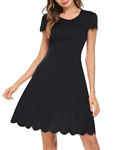 (Bloggerlove Women's Summer A-Line Scallop Pleated Skater Dress Black)
