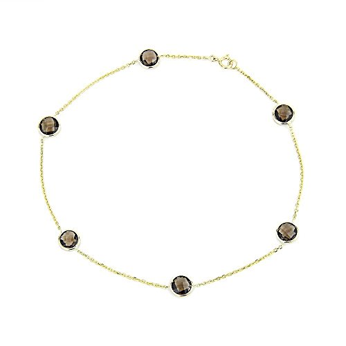 14k Yellow Gold Anklet Bracelet With 6mm Fancy Cut Round Smoky Quartz Gemstones 9 - 11 Inches by amazinite