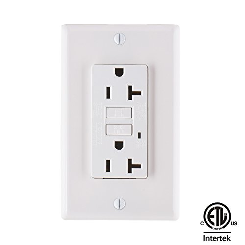 Cheap Faith 20-Amp Self-Testing Slim GFCI Outlet with Indicator, Wall Plate Included, White for cheap
