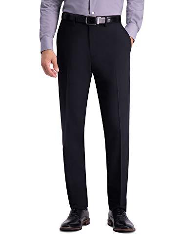 Haggar Men's Active Series Herringbone Suit Pant, Black - 34W x 29L