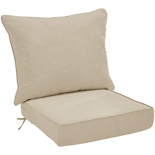 AmazonBasics Deep Seat Patio Seat and Back Cushion- Khaki