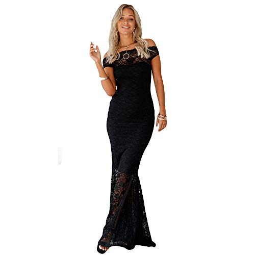 c223fbb81340 Aderente Sera Floreale In Solido Donna Abito D onore Raso Nero Damigella  Pizzo Sounded Cocktail Lungo ...