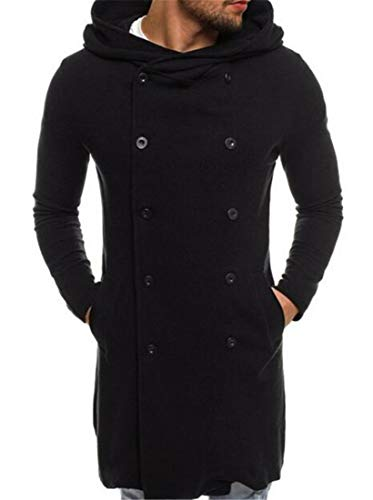 UUYUK Men Pure Color Hoodie Double Breasted Casual Mid-Length Pea Coat Black US XL
