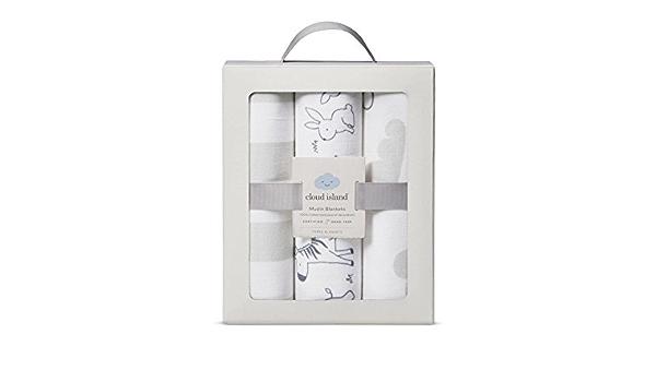 Cloud Island Muslin Blankets 100/% cotton 3 pack of baby boy//girl blankets