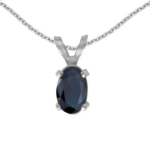 This 14k white gold oval sapphire pendant features a 6x4 mm genuine natural sapphire with a 0.39 ct total weight. by sendmyjewelry