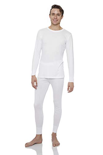- Rocky Thermal Underwear for men Top & Bottom Set Long John Ultra Soft Smooth Knit (Xlarge, White)