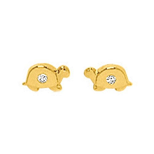 So Chic Jewels - 18k Yellow Gold - Cubic Zirconia Turtle Stud Earrings by So Chic Jewels