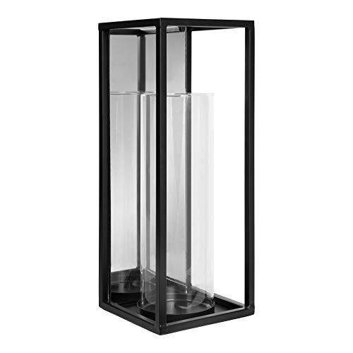 Kate and Laurel Mirri Metal Wall or Table Candle Sconce with Glass Pillar, Black