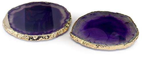 Stone Set Collection Coaster (Minerals Collection :: Gift Set of 2 - Brazilian Agate Coasters with 24K Gold Plated Edge. Rubber Bumpers Included (Purple))