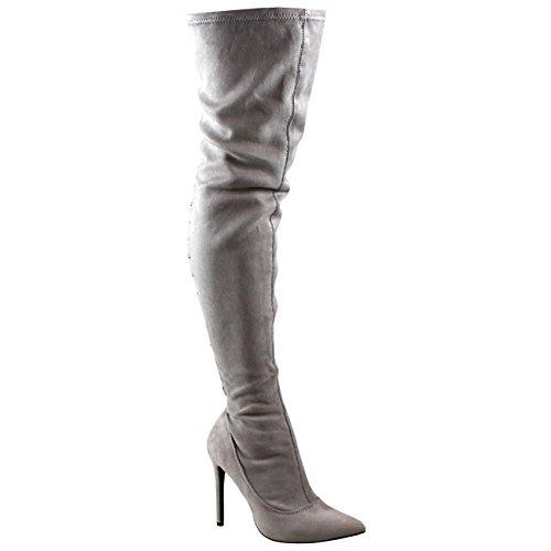 Viva Damen Lange Mode Spitze Zurück Stiletts Kleid Lange Oberschenkel Hoch Hoher Absatzs Grau