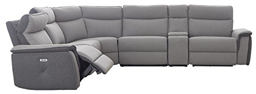 "Homelegance Maroni 162"" Two Tone Fabric Power Reclining Sectional Sofa, Gray"