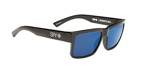 Spy Optic Men's Montana Polarized Square Sunglasses, Black/Happy Gray/Green Polar/Blue Spectra, 1.5 - Spy General Sunglasses