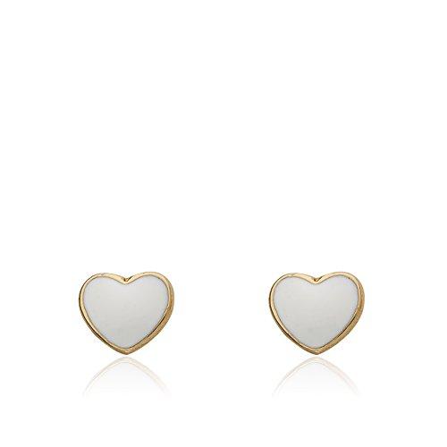 Little Miss Twin Stars I LOVE My Jewels 14k Gold-Plated White Enamel Heart Stud Earring/ by Little Miss Twin Stars