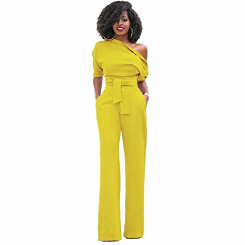 Aurorax Hot Sale!Womens Sexy One Shoulder Solid Jumpsuits Wide Leg Long Romper Pants With Belt,Elegant Bodycon Long Loose Playsuit (Yellow, M)