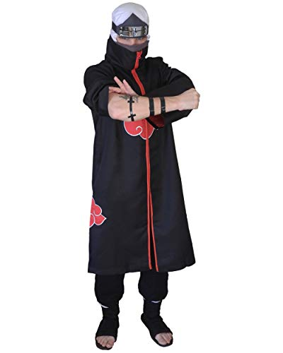 DAZCOS US Size Unisex Akatsuki Cloak Robe Cosplay Costume Embroidery Edition (Child L) Black