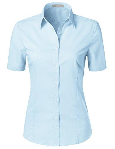H2H Womens Versatile Short Sleeve Slim Fit Button Down Shirt Blouse Top SkyBlue (Cotton Tailored Uniform)