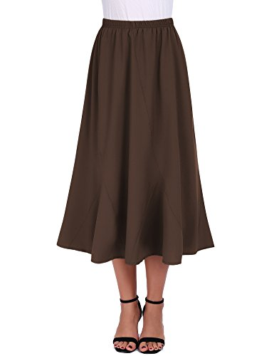 FISOUL Women Vintage Elastic Waist Skirts Casual Below Knee Length Flared A-Line Pleated Long Skirts (Brown, Small) (Pleated Detail Skirt)
