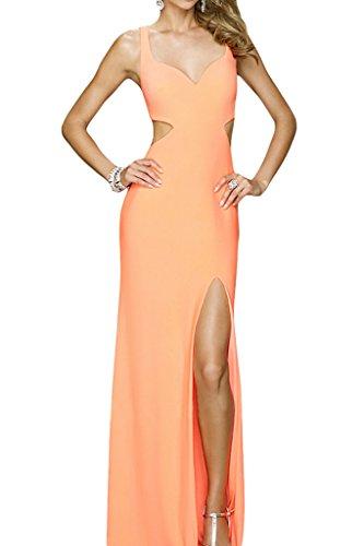 Partykleid Rueckenfrei Traeger Abendkleid Promkleid Damen Schlitz Ivydressing Sexuell Orange qtw6xUPXW