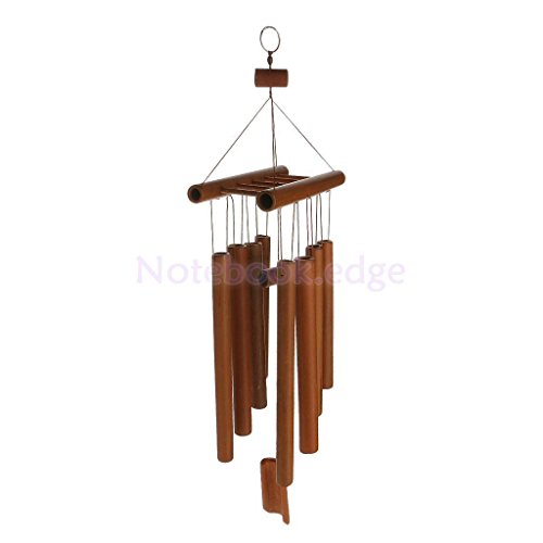 Deep Relaxing 8 Tubes Bamboo Raft Chapel Bells Windmill Wind Chimes Decor