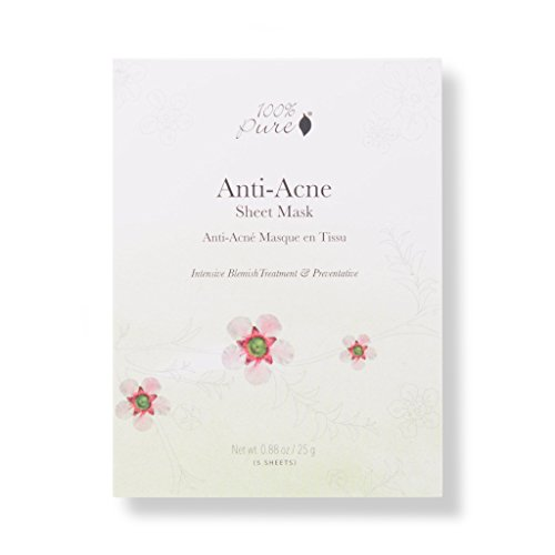 100% PURE Anti Acne Sheet Mask (5 PK), Acne Face Mask with Tea Tree Oil, Hyaluronic Acid, Full-Face Sheet Mask for Clear Skin, Sustainably Made - 5 Pack ()