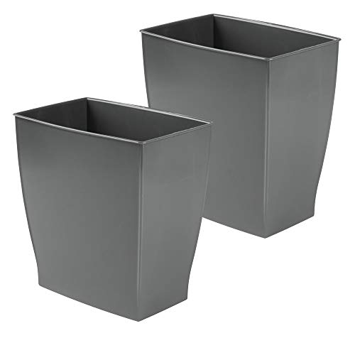 mDesign Rectangular Trash Can Wastebasket, Small Garbage Container Bin for Bathrooms, Powder Rooms, Kitchens, Home Offices - Shatter-Resistant Plastic, 2 Pack - Slate Gray (Gray Bathroom Set Accessories)