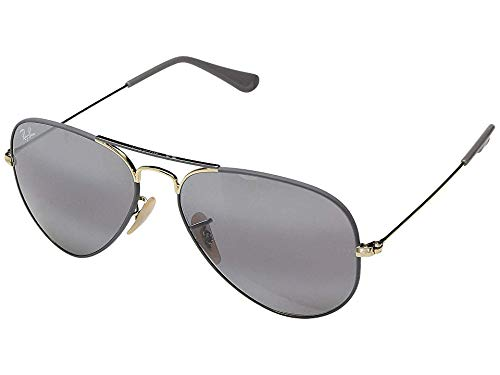 RAY-BAN RB3025 Aviator Large Metal Sunglasses, Matte Grey On Gold/Grey Gradient Mirror, 55 mm by RAY-BAN