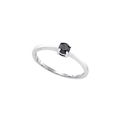 Jewels By Lux 10kt White Gold Womens Round Black Color Enhanced Diamond Solitaire Bridal Wedding Engagement Ring 1/4 Cttw Ring Size 5 (Solitaire Black Diamond Enhanced)