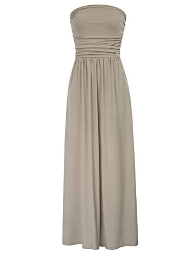 GRACE KARIN Womens Strapless Ruched Casual Party Maxi Dress with Pocket Size XL Light Coffee
