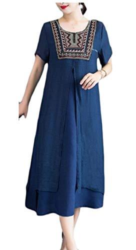 Jaycargogo Des Femmes De Linge De Coton À Manches Courtes Style Ethnique Bleu Lâche Marine Robe Longue