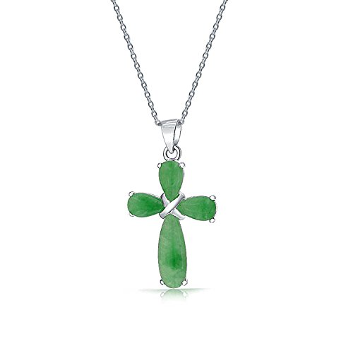Geometric Simple Dyed Green Jade Cross Pendant Necklace For Women For Teen 925 Sterling Silver With Chain