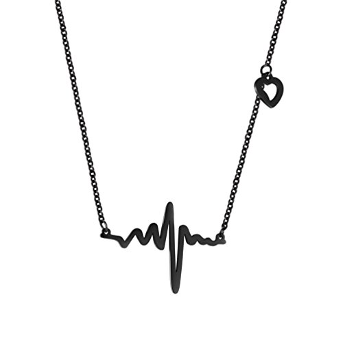 PROSTEEL Dainty Heartbeat Necklace,Tiny Heart Cardiogram Charm Necklace,Delicate Chain Short,Women Jewelry,Black Choker,Women,Gift for Her,316L Stainless Steel,Black Gun Plated,49H
