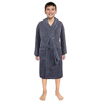 b82ad8a248 NUWFOR Toddler Kids Baby Solid Bathrobe Cotton Plush Hooded Bath Robe Towel  Pajamas(Gray