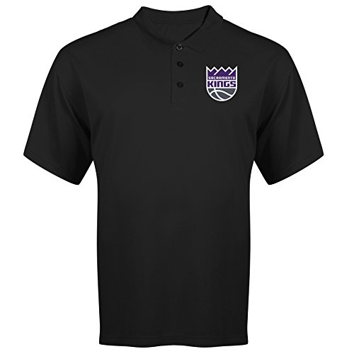 NBA Sacramento Kings Adult men NBA Plus S/Solid Birdseye Polo,4X,Black
