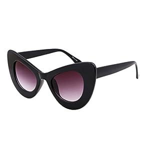 FEISEDY Cat Eye Retro Acetate Frame Polycarbonate Lenses Women Sunglasses Black