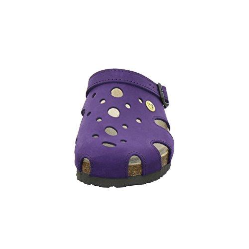 Afs Shoes 21993, Esd-zoccoli Comode Pantofole Per Donna, Pratiche Scarpe Da Lavoro, Vera Pelle Viola