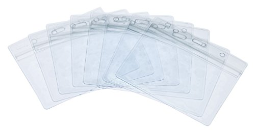 Fushing Pack of 50 Clear Plastic Horizontal Badge Holders, Name Tag Holders, Card Holders -