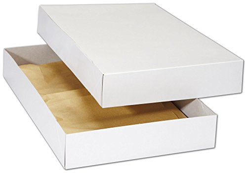 White Premium Two-Piece Apparel Boxes, 17 x 11 x 2 1/2'' (100 Boxes) - BOWS-3620-WH by Miller Supply Inc