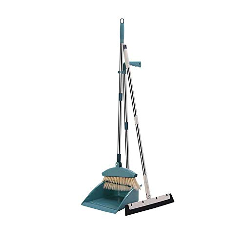 JTKDL Broom and Dustpan Set Dust Pan Long Handle Broom and Wiper Blade Three-Piece for Home Kitchen Office