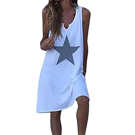 fasloyu Women Bohe Summer Casual Stars Print Dress V-Neck Sleeveless Loose Dresses White 31bwv3859wL